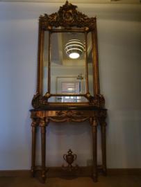 Gouden haltafel / sidetable met/zonder spiegel