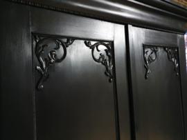 Grote antieke mahonie Biedermeier linnenkast / kledingkast Pure Black