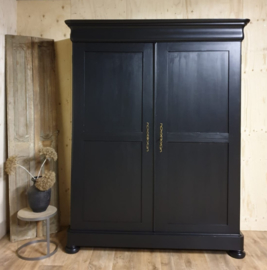 Antieke strakke mahonie  linnenkast / kledingkast Pure Black
