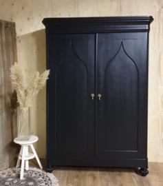 Antieke strakke mahonie  poortkast Pure Black