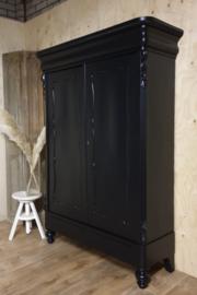 Antieke mahonie Biedermeier linnenkast / kledingkast Pure Black zwart