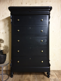 Antieke brocante landelijke Biedermeier ladekast / chiffonnière zwart