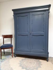 "Antieke landelijke brocante Biedermeier linnenkast ""Denim Blue"""