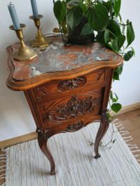 Antiek bijzetkastje / nachtkastje met marmeren blad