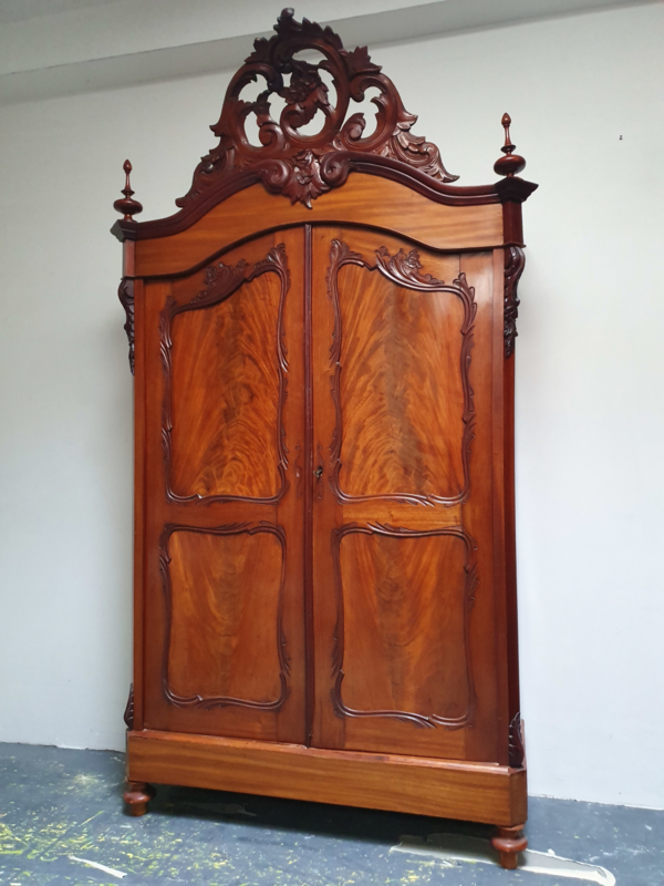 Antieke Mahoniehouten Biedermeier Kuifkast