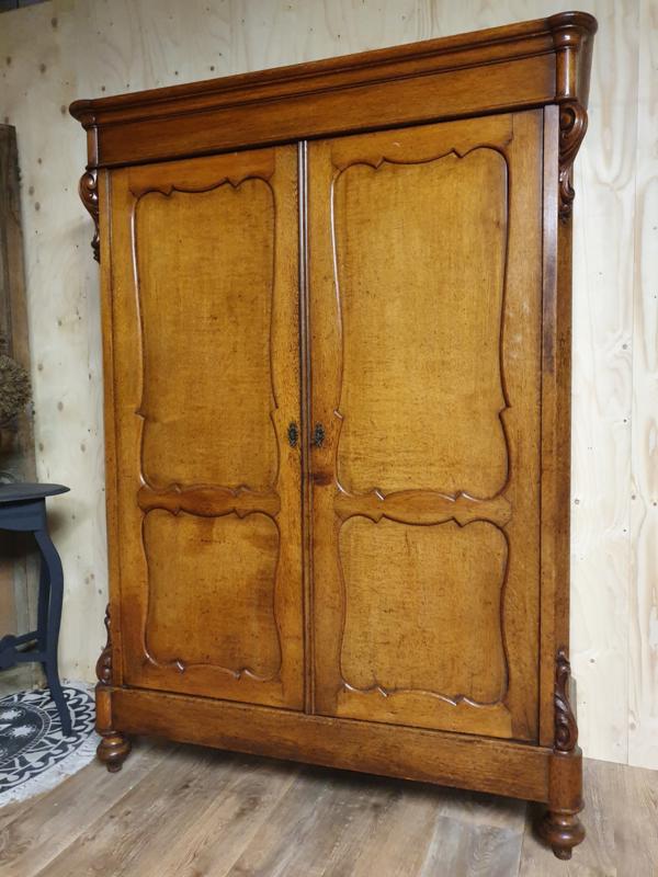 Antieke eikenhouten Biedermeier linnenkast / kledingkast