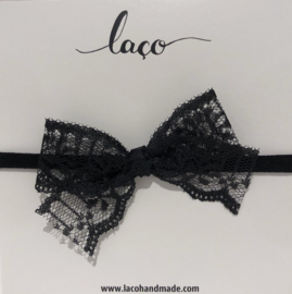 Headband Lace Big Bow black