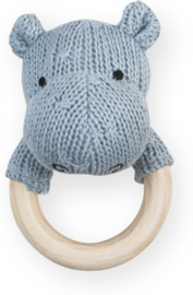 Jollein - Rattle Theething Ring Ø 7cm Soft Knit Hippo blue