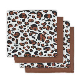 Jollein Hydrofiel multidoek small 70x70cm Leopard natural (4pack)
