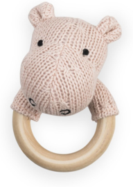 Jollein - Rattle Theething Ring Ø 7cm Soft Knit Hippo creamy peach