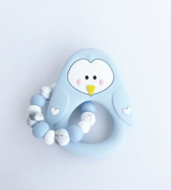 Little Cheeks - Teething Ring + Rattle Pinguin blue