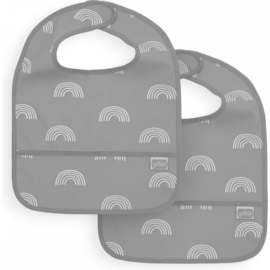 Jollein Bib waterproof Rainbow grey (2pack)