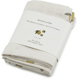 Konges Sløjd | 3 Pack Muslin Cloths Lemon
