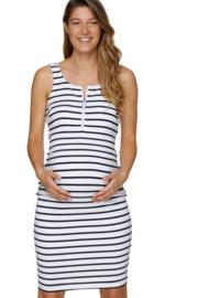 Bae I Zwangerschapsjurk Perfect Match Zip Dress White Stripe