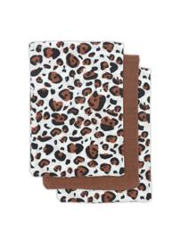 Hydrofiel washandje Leopard natural (3pack)