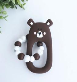 Little Cheeks - Teething Ring + Rattle brown