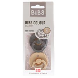 Bibs 2-pack fopspeen Iron + Beige 0-6 maand
