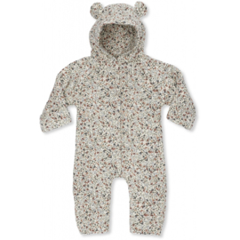 Konges Sløjd | Newborn Onesie With Hood Blue Blossom Mist