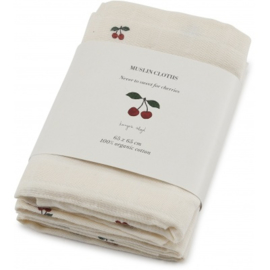 Konges Sløjd | 3 Pack Muslin Cloths Cherry