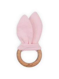 Jollein wooden Teething Ring waffle soft pink