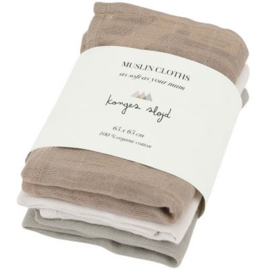 Konges Sløjd | 3 Pack Muslin Cloths Rose Dust