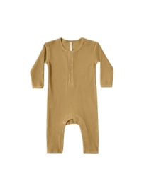 Quincy Mae I Ribbed Baby Jumpsuit Ocre
