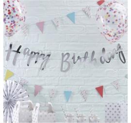 Ginger Ray Slinger 'Happy Birthday' Zilver