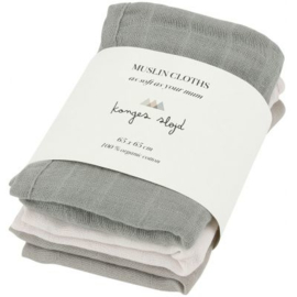 Konges Sløjd | 3 pack Muslin Cloth Lime Stone