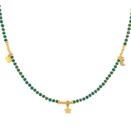 Moonsister Necklace // Green Gold