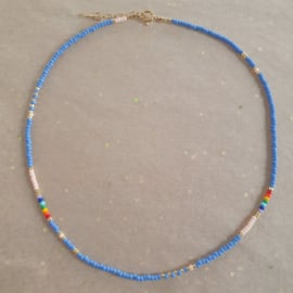 Blue Rainbow Necklace // Gold