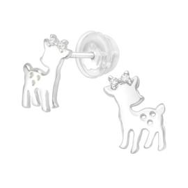 Zilveren hertjes oorstekertjes