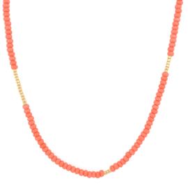 Basic  Necklace // Coral orange Gold