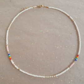 White Rainbow Necklace // Gold