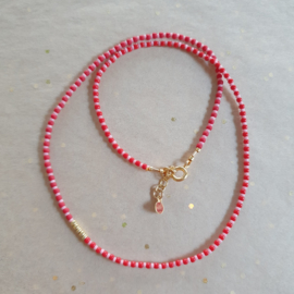 Red striped Necklace // Gold