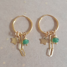 Star earrings // Green