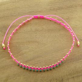 Enkelbandje // Neon Pink Turquoise green