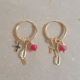 Cross earrings // Red