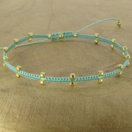 2 Dots  Light Turquoise // Gold