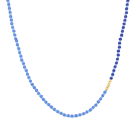 Blue striped Necklace // Gold