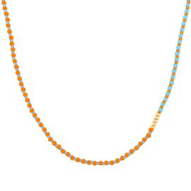 Striped Necklace // Turquoise Orange Gold