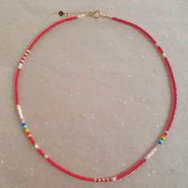 Red Rainbow Necklace // Gold