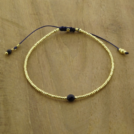 Single stone Blue Goldstone // Gold