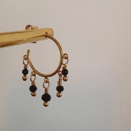 Dangling hoop earrings // Black