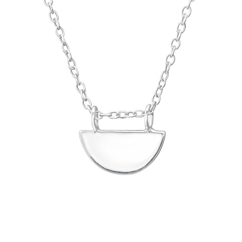 Half round shaped necklace //  925 silver