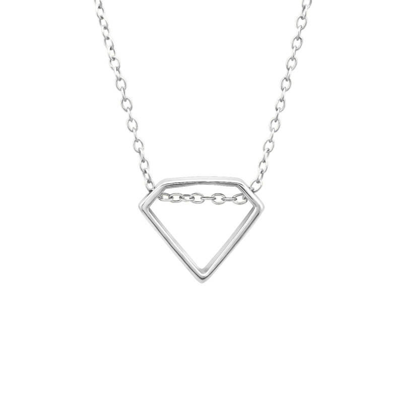 Diamond shape necklace //  925 silver