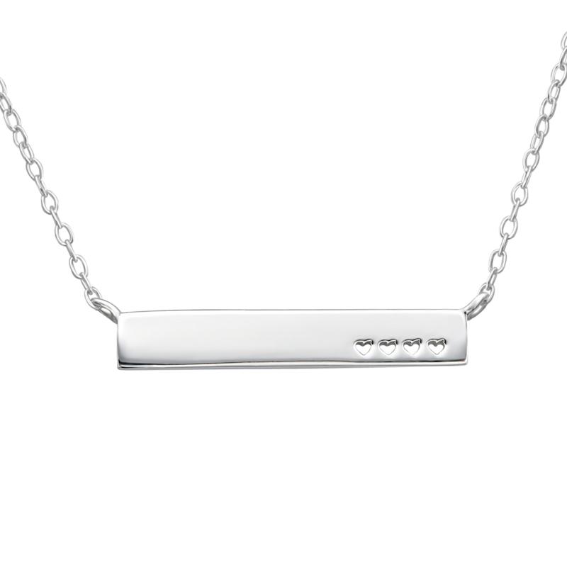 Heart bar necklace //  925 silver
