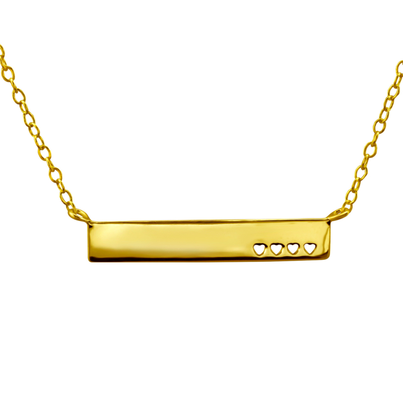 Heart bar necklace // Gold-plated 925 silver