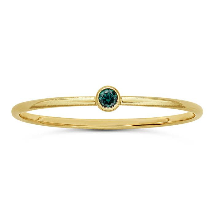 Green stone ring // Goldfilled
