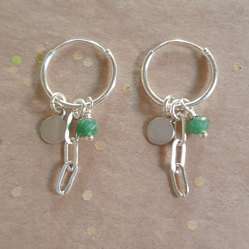 Silver earrings // Green Jade