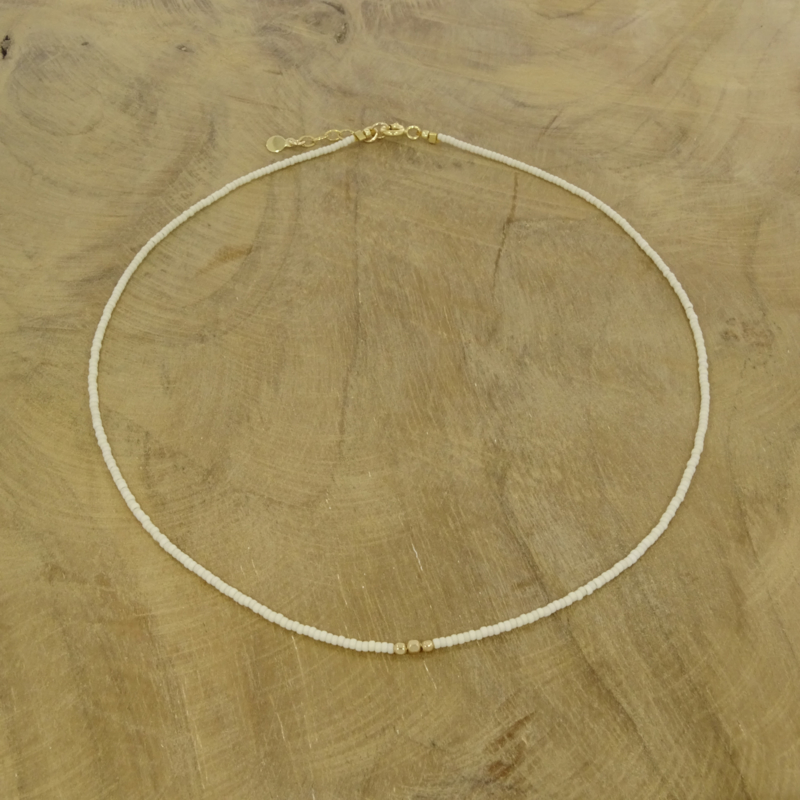 Minimalist necklace // Off White Gold